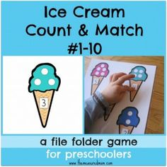 Free file folder game for preschoolers: Ice Cream Count & Match #1-10 - The Measured Mom