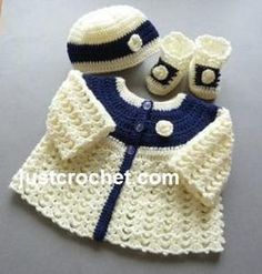 FJC92-Matinee Set baby crochet pattern