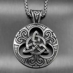 Men's Large Celtic knot Magic Both Sided Solid Stainless Steel Pendant Celtic Necklace, Knot Necklace, Celtic Symbols, Celtic Knot, Celtic Spiral, Celtic Wedding Rings, Leather Armor, Viking Jewelry, Celtic Designs