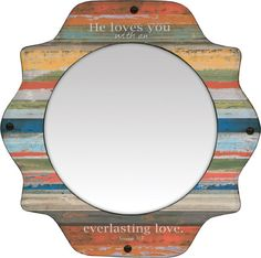 Scalloped edge mirror with nail head trim - Love the verse:  He loves you with an everlasting love!  Jeremiah 31:3
