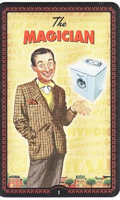 The Magician - The Housewive's Tarot by Paul Kepple And Jude Buffum The Magicians, The Magician Tarot, Astro Tarot, Fortune Telling Cards, The Hierophant, Tarot Major Arcana, Tarot Card Meanings, Guild Wars, Oracle Cards