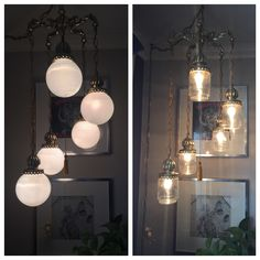 The pic stitch of the lamp as I found it with the generic white globes that weren't original to the lamp and the new idea of the $2 jam jar experiment...