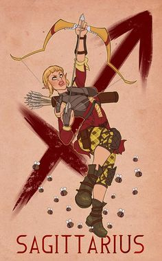 Sera from Dragon Age. An interesting blend of stereotypical Sag traits and, y'know, a crazy person.