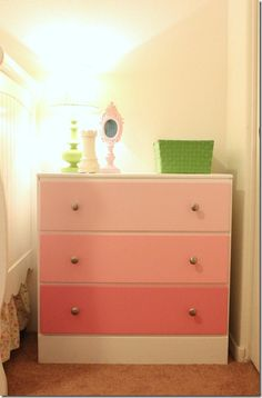 Ombre dresser - like the gradient of colored drawers