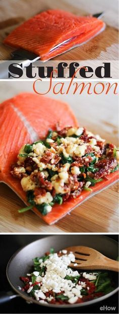 to Cook Stuffed Salmon Stuffed Salmon --- stuff salmon with feta, sundried tomatoes and spinach!Stuffed Salmon --- stuff salmon with feta, sundried tomatoes and spinach! I Love Food, Good Food, Yummy Food, Fish Dishes, Seafood Dishes, Seafood Meals, Salmon Dishes, Seafood Pasta, Food For Thought