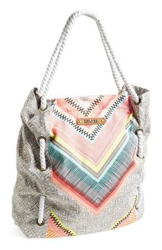 Weekend favorite - Rip Curl canvas tote with mint and coral accents.
