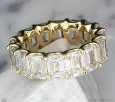 Luxury Emerald Cut Diamond Eternity Wedding Band in yellow gold! This show-stopping ring shines with an endless circle of diamonds. Customize it in the metal you want! Emerald Cut Eternity Band, Emerald Cut Diamonds, Eternity Bands, Diamond Bands, Gold Bands, Diamond Cuts, Engagement Ring Styles, Wedding Ring Bands, Bling