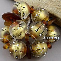 Magma Beads ~Golden Relics~ Handmade Lampwork Beads