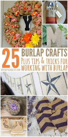 These fun burlap crafts will get you into a DIY mood! I've also shared a few burlap tips and tricks! Burlap Projects, Burlap Crafts, Wreath Crafts, Cool Diy Projects, Burlap Wreath, Craft Projects, Projects To Try, Craft Ideas, Decor Ideas