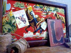 Boys Wall Decor Western Cowboy Pin Board   16 x 28 by PinwheelFair, $98.00