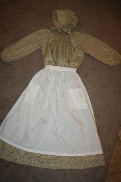 Colonial Pioneer Prairie Civil War Trek Dress, Apron & Bonnet! M/L Youth-Adult