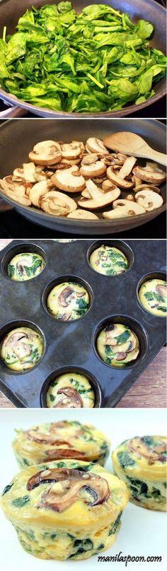 Healthy Savory Spinach Mushroom Egg Cupcakes Recipe by Cupcakepedia, cupcakes, food, cupcake