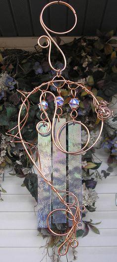 Dragon Wind Chimes Copper - Garden Art Sculpture