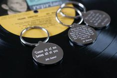 The engraving on the front of the keyring is a snippet of your own favourite song lyric, beautifully engraved by skilled craftsmen. Personalized Valentine's Day Gifts, Personalised Gifts For Him, Valentine Day Gifts, Valentines, Christmas Delivery, Love You All, Wedding Gifts, Gifts For Her, Lyrics
