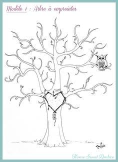 Arbre-à-empreintes-HomeSweetAmbre. Wedding Guest Book, Diy Wedding, Diaper Parties, Medicine Wheel, Freebies, Baby Shower Printables, Valentine Crafts, Body Painting, Painting Art