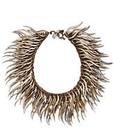 Bar III Antique Silver-Tone and Gold-Tone Caterpillar Statement Necklace