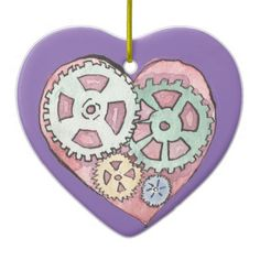 Pink and Purple Clockwork Heart Ornament from Original Watercolor Painting by MBrothertonArt on Etsy