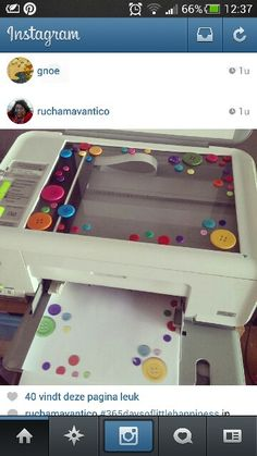 Lay buttons or other objects on your scanner to make your own decorative paper!