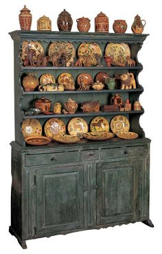 Pennsylvania, Lancaster County Painted Cupboard, circa 1750, 85 H. x 60.88 W. x 20.25 D.