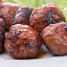 Teriyaki Grilled Meatballs by grandmotherskitchen #Meatballs #Teriyaki #Grilling