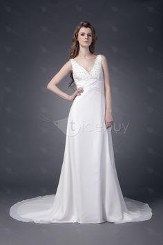 Junoesque Sheath/Column V-neck Chapel Beaded Maria's Wedding Dresses (Free Shipping)   US$166.59