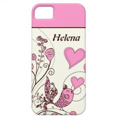 Birds and hearts floral pink, brown custom iPhone 5 case