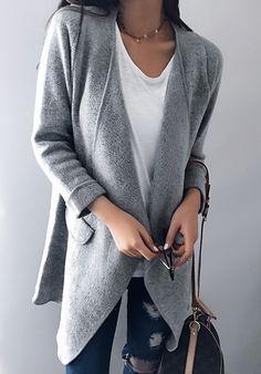 Chicnico Fashion Oversize Open Collar Solid Color Cardigan 52cb3686b1b1