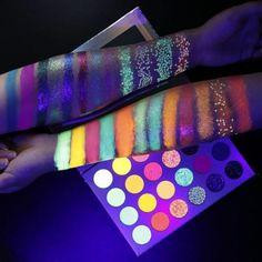 Pressed Glitter Eyeshadow Palette, High Pigment Eyeshadow, Bright Eyeshadow, Colorful Eyeshadow, Colorful Makeup, Eyeshadow Makeup, Dark Eyeshadow, Glow Palette, Makeup Palette