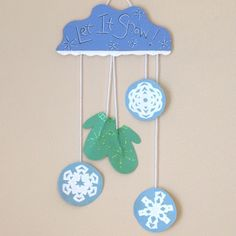 Mitten and Snowflake Wall Hanging Here's a cute wall hanging to help celebrate the winter season. Tack this project up …