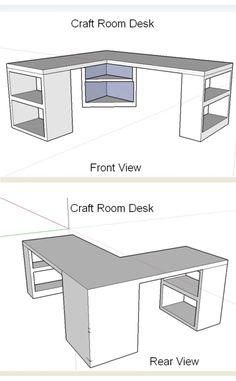 ' (via The Ugly Duckling House) 'Craft Room Desk Design.' (via The Ugly Duckling House) Craft Room Storage, Craft Room Desk, Room Organization, Craft Room Tables, Craft Rooms, Diy Table, Craft Room Shelves, Wall Shelves, Diy Crafts Desk