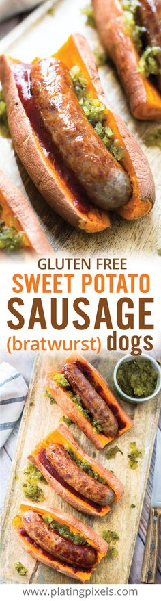 Gluten free and low Gluten free and low carb eaters can enjoy. Gluten free and low Gluten free and low carb eaters can enjoy these Sweet Potato Sausage Dogs. Seared Johnsonville bratwurst sausages on a tender sweet potato. A fun and healthy hot dog alt Hot Dog Recipes, Paleo Recipes, Real Food Recipes, Cooking Recipes, Cooking Pork, Paleo Sweet Potato, Sweet Potato Recipes, Sweet Potato Buns, Baked Potato