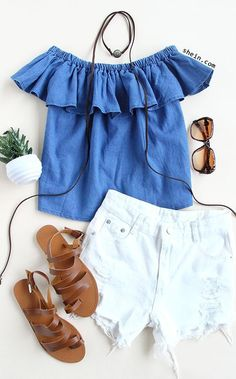 Off the shoulder ruffle top with distressed denim shorts