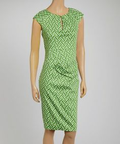 Another great find on Joy Mark Green & White Geometric Cap-Sleeve Dress by Joy Mark Mark Green, Dress Up, Bodycon Dress, Geometric Dress, Professional Attire, Dress Patterns, Spring Summer Fashion, Cap Sleeves, Dresses For Work
