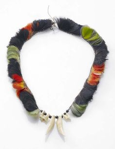 Brazil | Necklace from Maranhão | Feathers, teeth, seeds, cotton and vegetable fibers