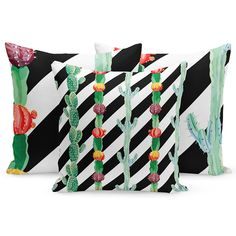 Obliečky na vankúše čierno biele pruhované Green Cushion Covers, Green Cushions, Gold Cushions, Printed Cushions, Black And White Cushions, Living Room Cushions, Tropical Animals, Letterbox Gifts, Large Letters