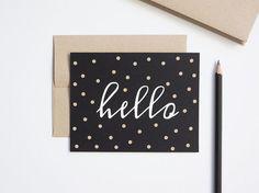 Papercut Confetti Hello Card - Black