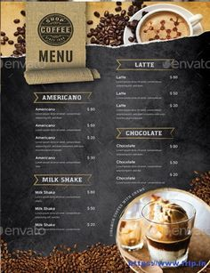 Cafe Menu Design, Food Menu Design, Restaurant Menu Design, Restaurant Identity, Restaurant Restaurant, Coffee Shop Menu, Best Coffee Shop, Coffee Shop Design, Menu Templates