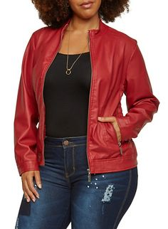 Plus Size Faux-Leather Motorcycle Jacket with Ruching,RED