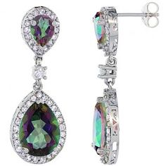 14K White Gold Natural Mystic Topaz Tear Drop Earrings White Sapphire and Diamond Accents, 1 3/8 inches long.