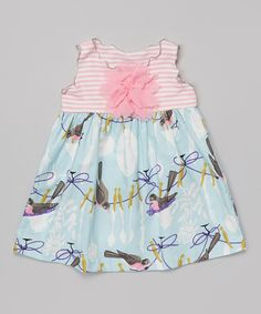Blue & Pink Robin Lettuce-Edge Swing Top - Toddler & Girls by SILLY MILLY #zulily #zulilyfinds