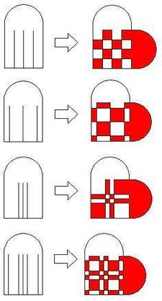 More Weaved Heart Basket Patterns