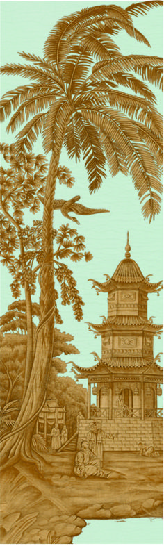 Exotic Chinoiserie | IK2801 in Cloud Blue | Panel by Iksel for Schumacher | This sumptuous scenic design was inspired by the fantastical chinoiserie decor in the iconic Royal Pavilion in Brighton, England. Windows Wallpaper, Wall Wallpaper, Royal Pavilion, Rococo Style, Scenic Design, Vintage Walls, Chinoiserie, Wall Murals, Monument Valley
