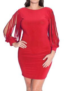 Plus Size Shredded Sleeves Red Cocktail Dress