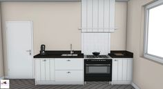 Landelijke moderne keuken met fornuis in 3D | ontwerp: Monique van Koppenahgen | kleuren: RAL 9001 creme wit, muren zandbeige | werkblad: composiet Silestone Dinux #styling #interieurstyling #interieur #interieurbouw #keuken #fornuis #3D #maatwerk #composiet #vgroef #landelijk #cremewit #zandbeige