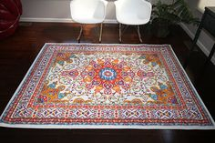 Oriental Traditional Isfahan Persian Area Rug, Light Blue/Navy/White/Orange/Yellow/Crimson Red
