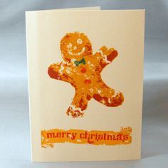 Christmas Cards with Vintage Style Gingerbread Man by doggydesign