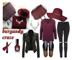 """""""Color of the fall"""" by meliki ❤ liked on Polyvore featuring Givenchy, Dex, Topshop, FitFlop, Sally Hansen, Oxfords, leatherjacket, skinnyjeans, hat and burgundy"""
