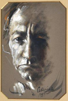 Asturi Antonio (Vico Equense, NA 1904 -1980) Autoritratto tecnica mista su carta, cm 27x19