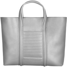 ELENA KARAVASILI - Amara Tote Bag Silver ($565) ❤ liked on Polyvore featuring bags, handbags, tote bags, handbags tote bags, tote bag purse, silver tote bag, metallic tote bag and silver metallic purse