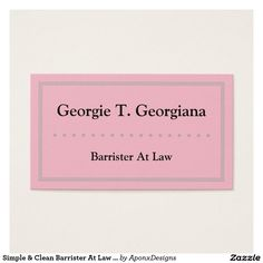 Simple Clean Barrister At Law Business Card